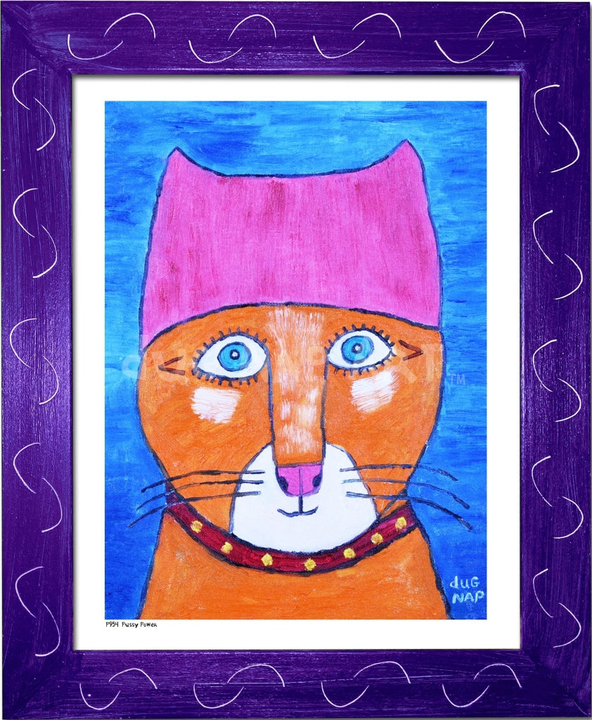 P954 - Pussy Power Framed Print / Small (8.5 X 11) Purple Art