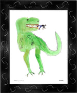 P977 - Dinosaur And Tiny Man Framed Print / Small (8.5 X 11) Black Art