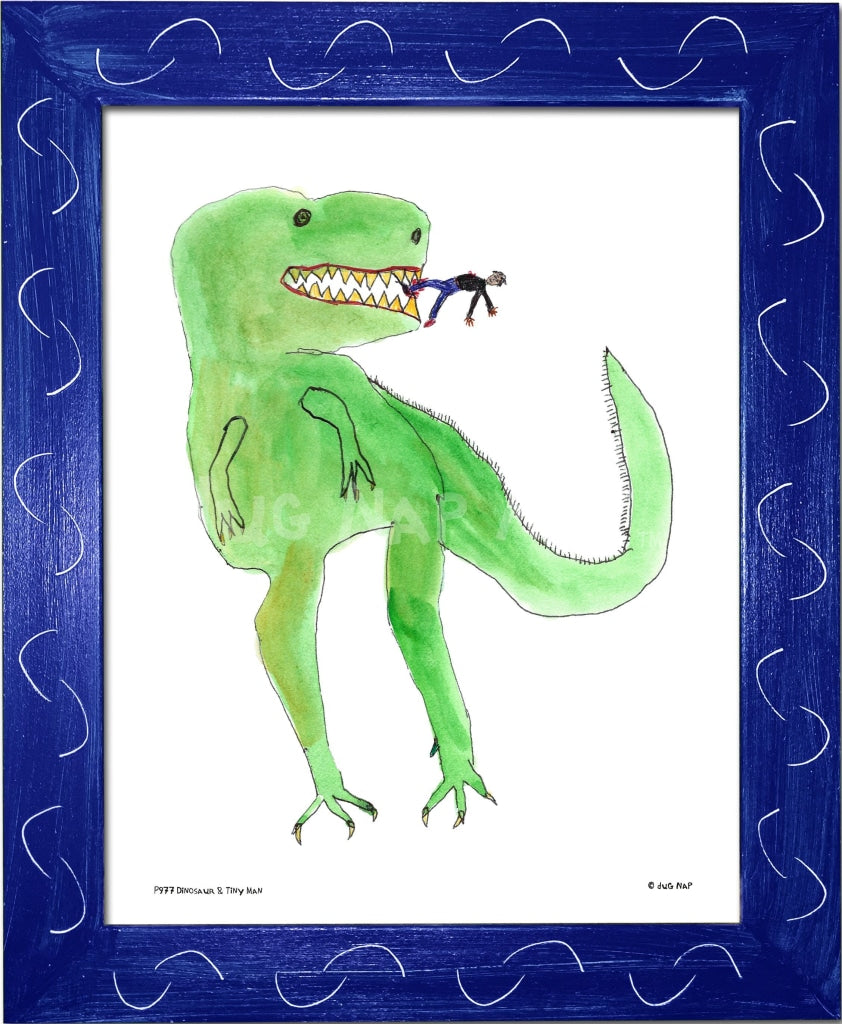 P977 - Dinosaur And Tiny Man Framed Print / Small (8.5 X 11) Blue Art
