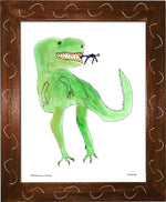 P977 - Dinosaur And Tiny Man Framed Print / Small (8.5 X 11) Brown Art