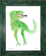 P977 - Dinosaur And Tiny Man Framed Print / Small (8.5 X 11) Green Art