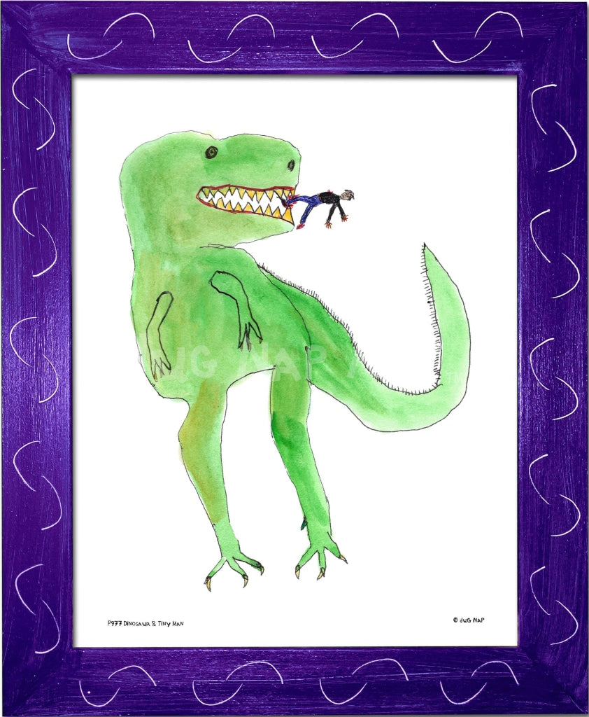 P977 - Dinosaur And Tiny Man Framed Print / Small (8.5 X 11) Purple Art