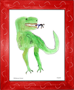 P977 - Dinosaur And Tiny Man Framed Print / Small (8.5 X 11) Red Art
