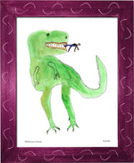 P977 - Dinosaur And Tiny Man Framed Print / Small (8.5 X 11) Violet Art