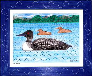 P978 Three Loons Framed Print / Small (8.5 X 11) Red Art
