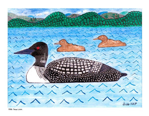 P978 Three Loons Unframed Print / Big (16 X 20) No Frame Art