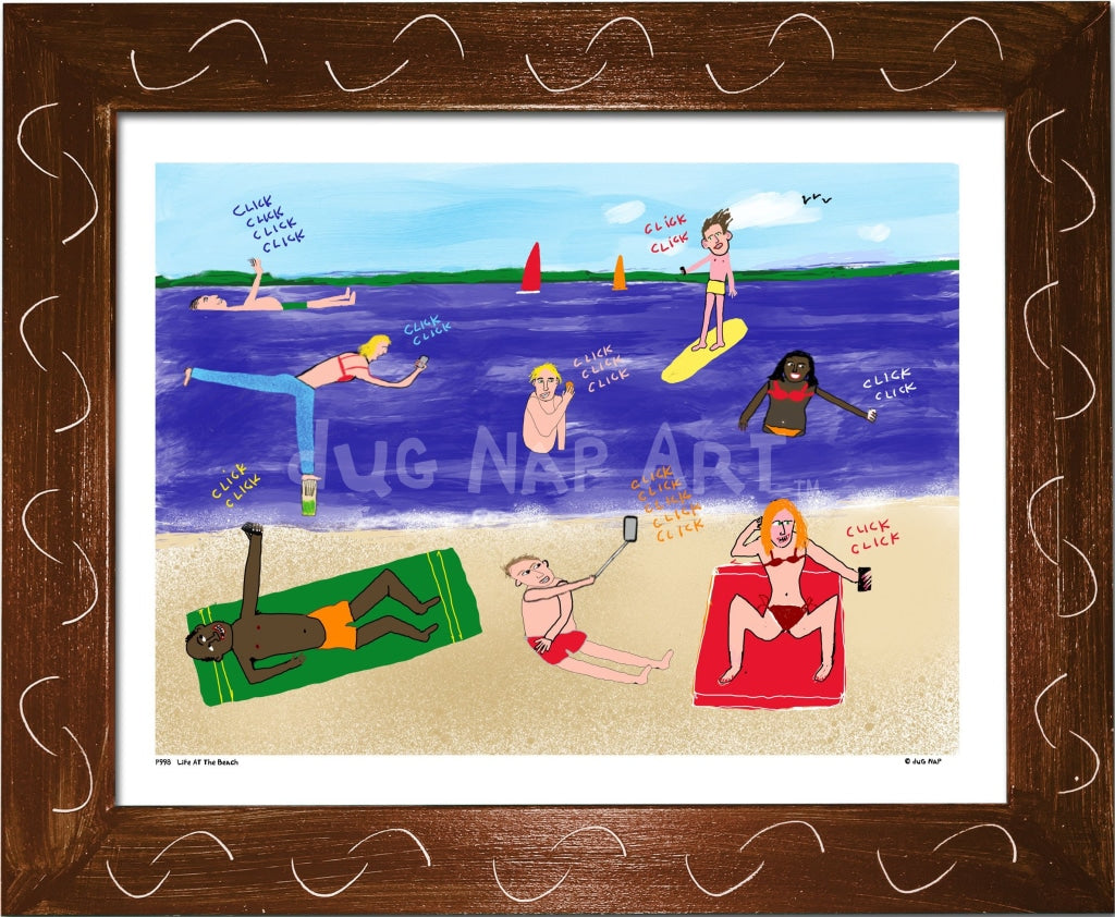 P998 - Life At The Beach Framed Print / Small (8.5 X 11) Brown Art