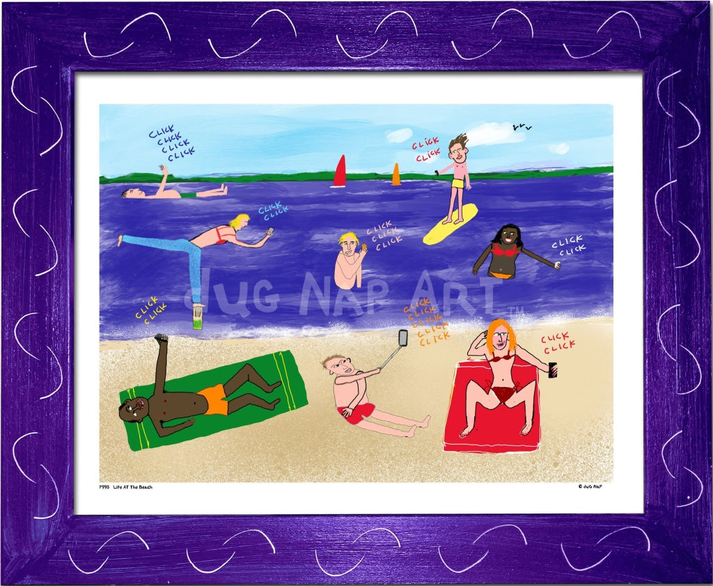 P998 - Life At The Beach Framed Print / Small (8.5 X 11) Purple Art