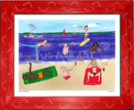 P998 - Life At The Beach Framed Print / Small (8.5 X 11) Red Art
