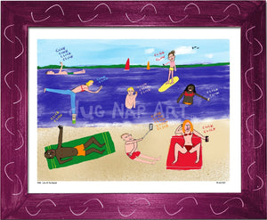 P998 - Life At The Beach Framed Print / Small (8.5 X 11) Violet Art