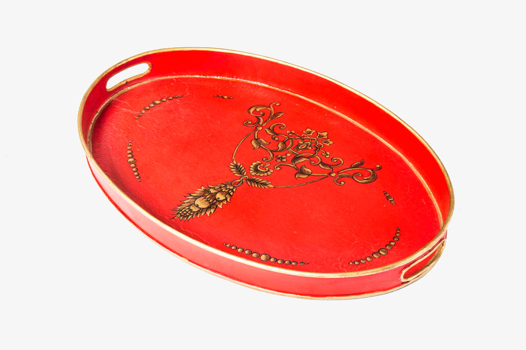 Viraya Red Ornate Flower hand painted Oval tray