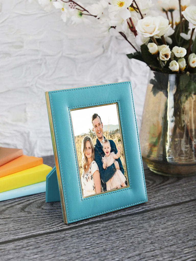 "Sapphire Blue & Gold Leatherite 4""x6"" Photo Frame"