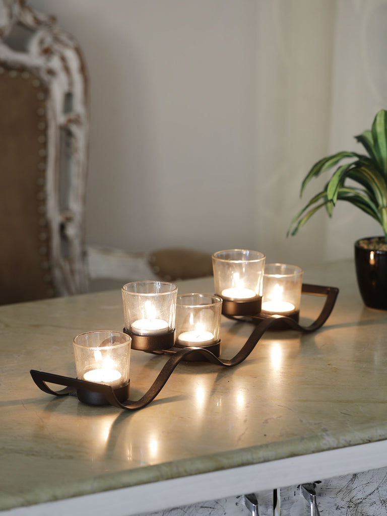 Black Iron Wave Votive Candle Holder with Five Clear Glass Cups
