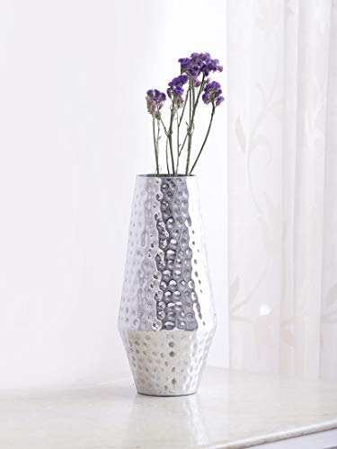 Indo Silver Finish Hammered Metal Vase