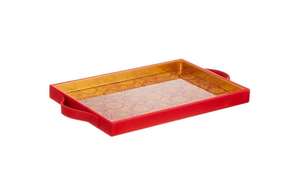 Malabar Ruby Red & Gold Rectangular Tray