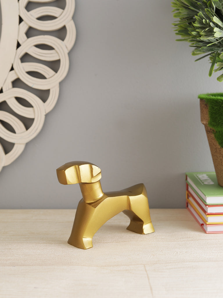 Geometric Dog Sculpture gold