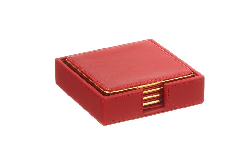 Crimson Red & Gold PU Leather Coaster Set of 4