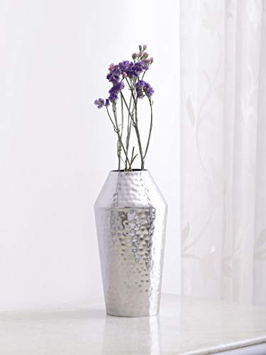 Proto Silver Finish Hammered Metal Vase