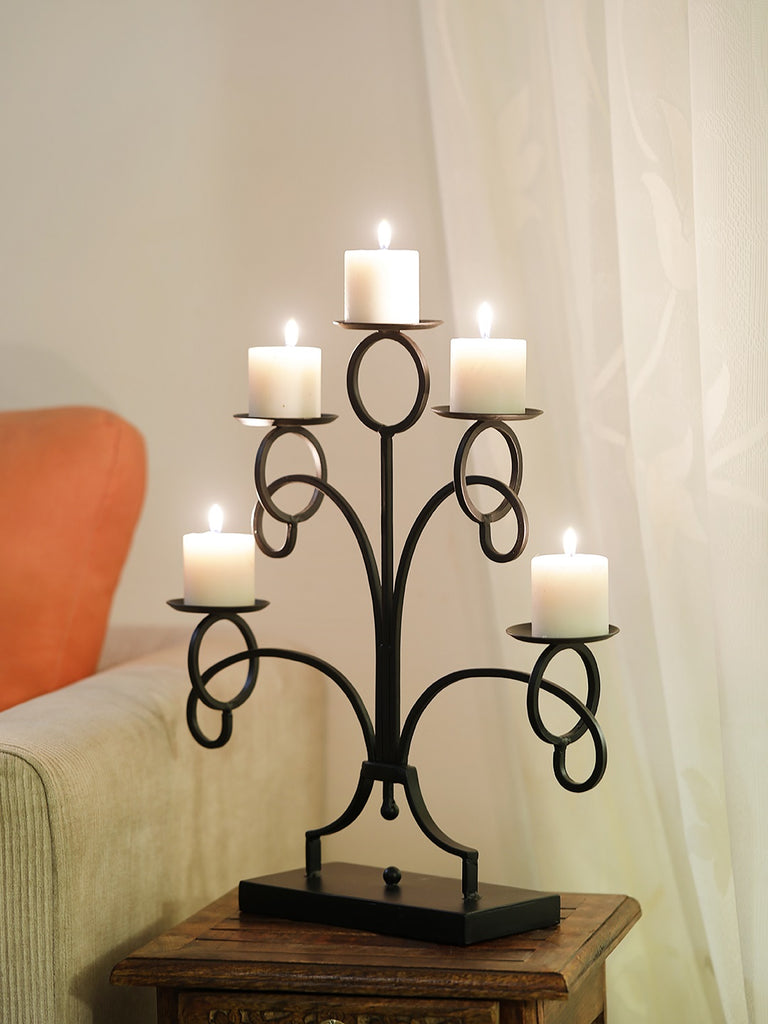 George Black Iron 5 Pillar Candle holder