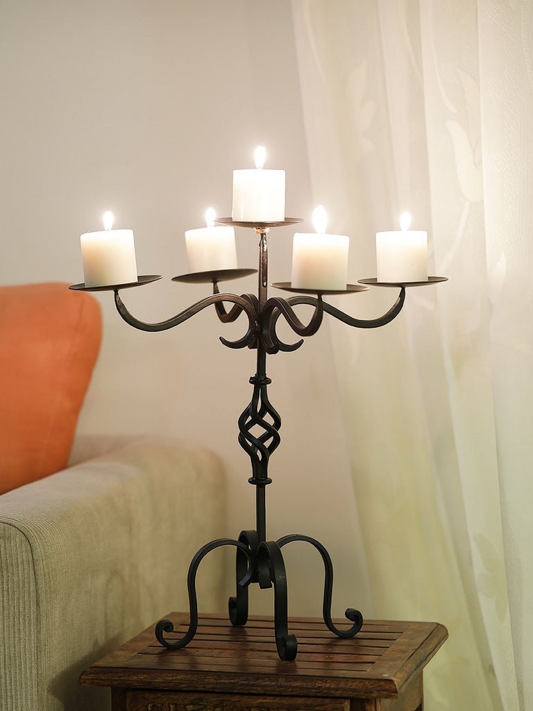 Harold Black Iron 5 Pillar Candleholder
