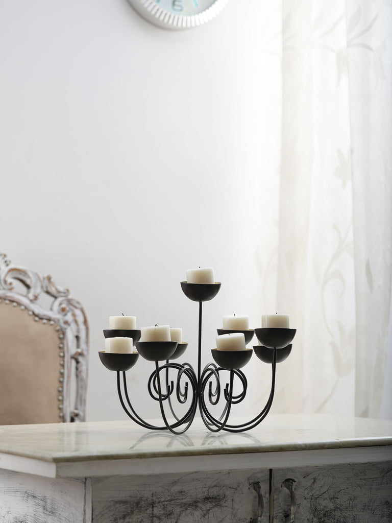 Denise 9 Cups Black Iron Candle holder