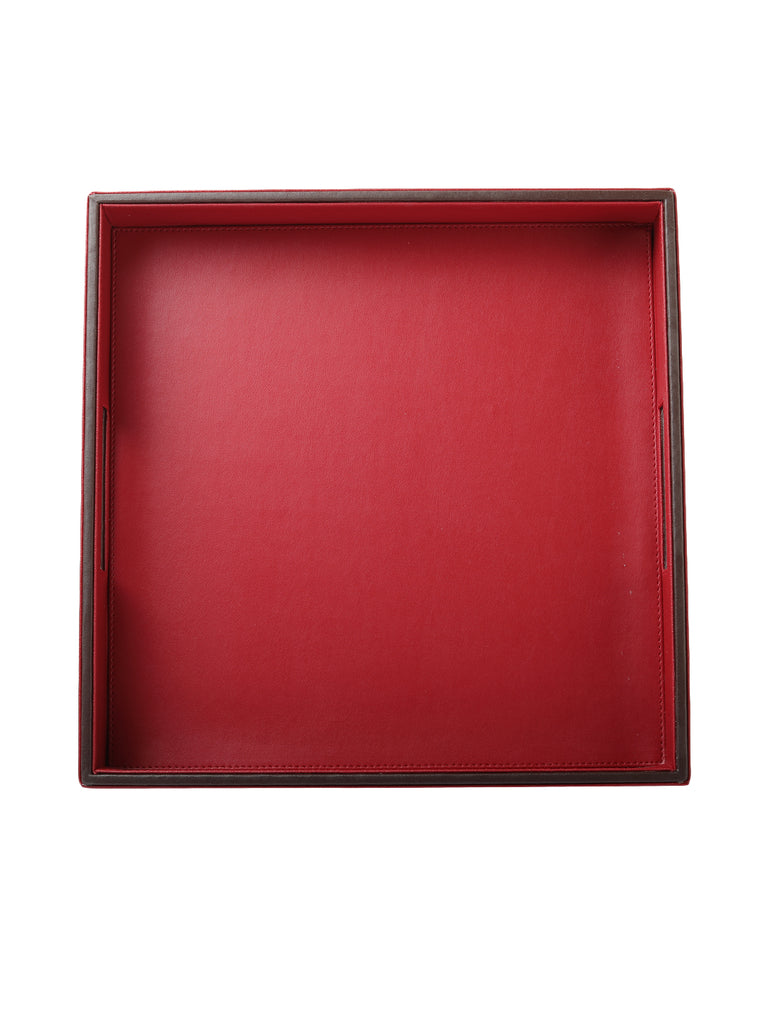 Crimson Red & Brown Leatherite tray
