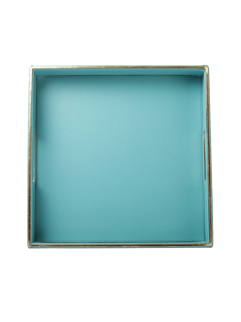 Sapphire Blue & Gold Leatherite Square tray