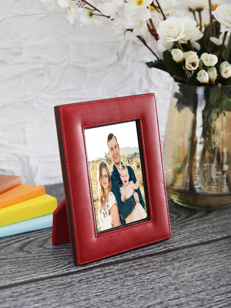 "Crimson Red & Brown Leatherite 4""x 6"" Photo Frame"