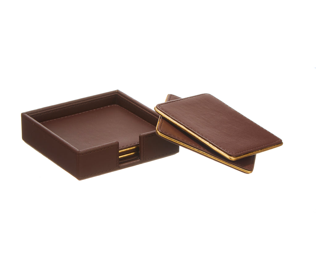 Morgan Brown & Gold PU Leather Coaster Set of 4