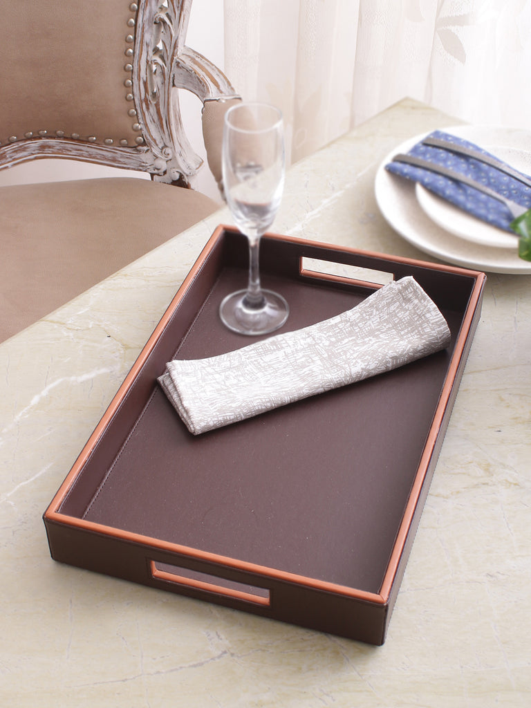Morgan Brown & Tan Leatherite Tray