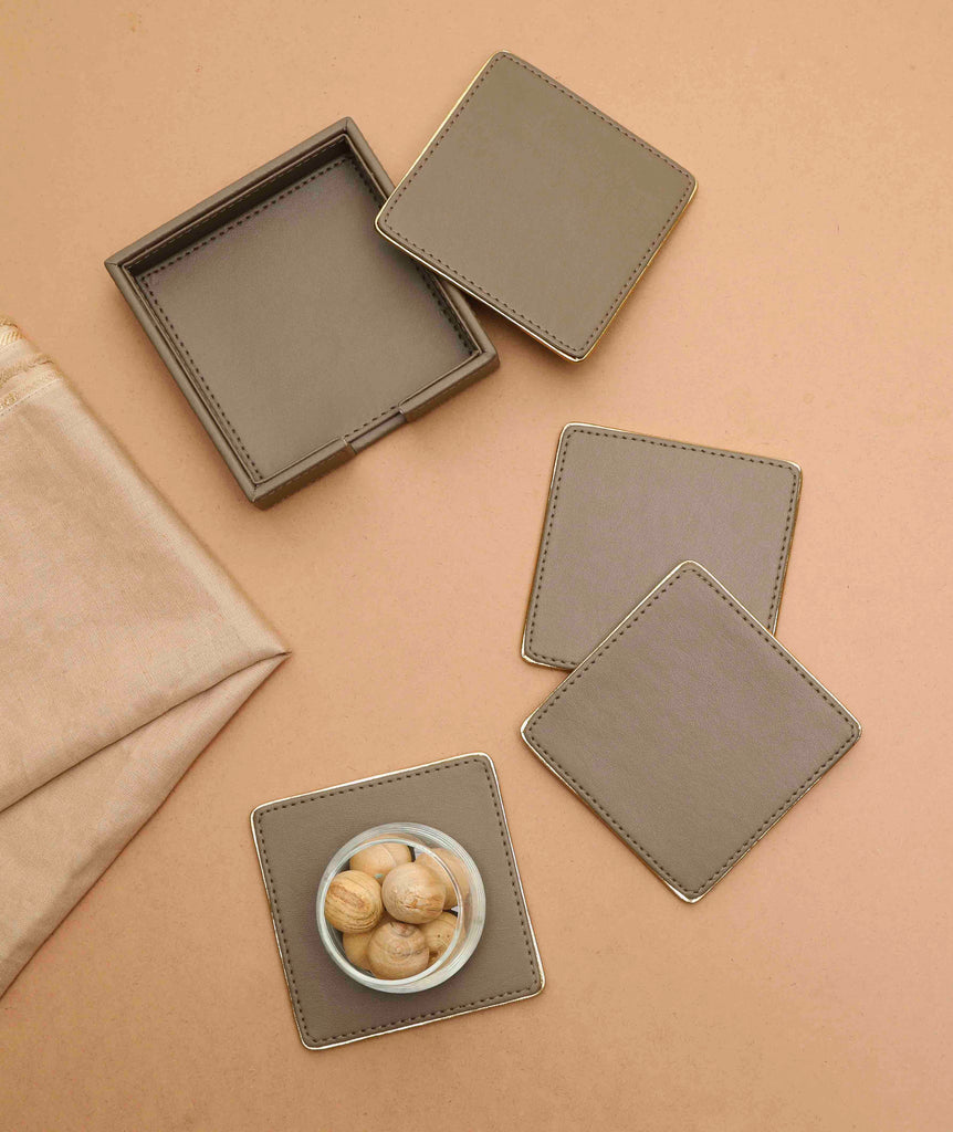 Dove Beige & Gold PU Leather Coaster Set of 4