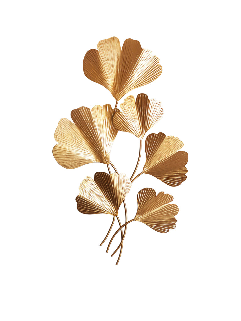 Gold Gingko Leaf Wall Sculpture