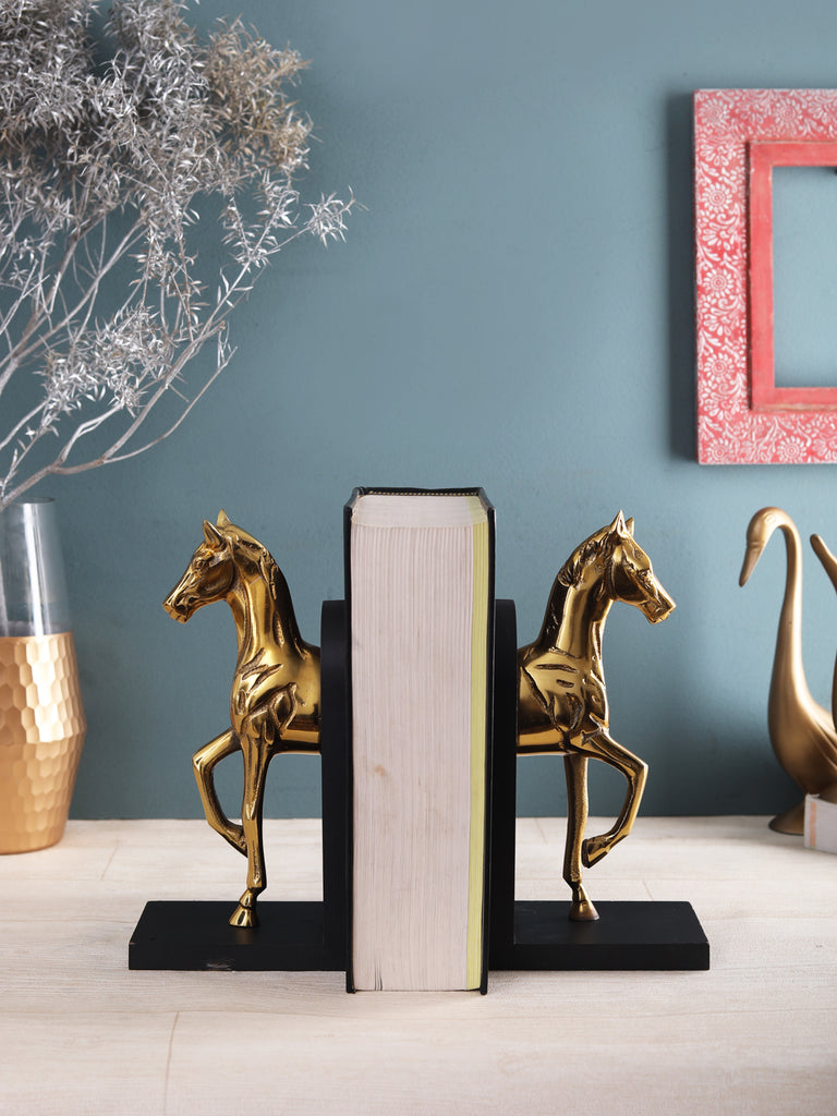 Gold Buzzy Galloping horse bookend set of 2
