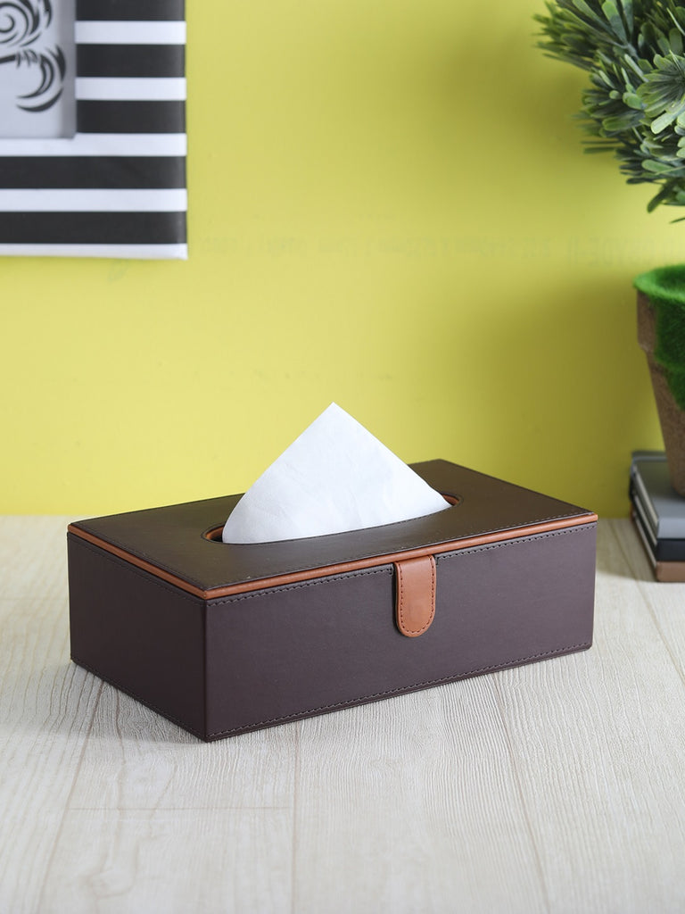 Cynthia Brown & Tan Tissue Box
