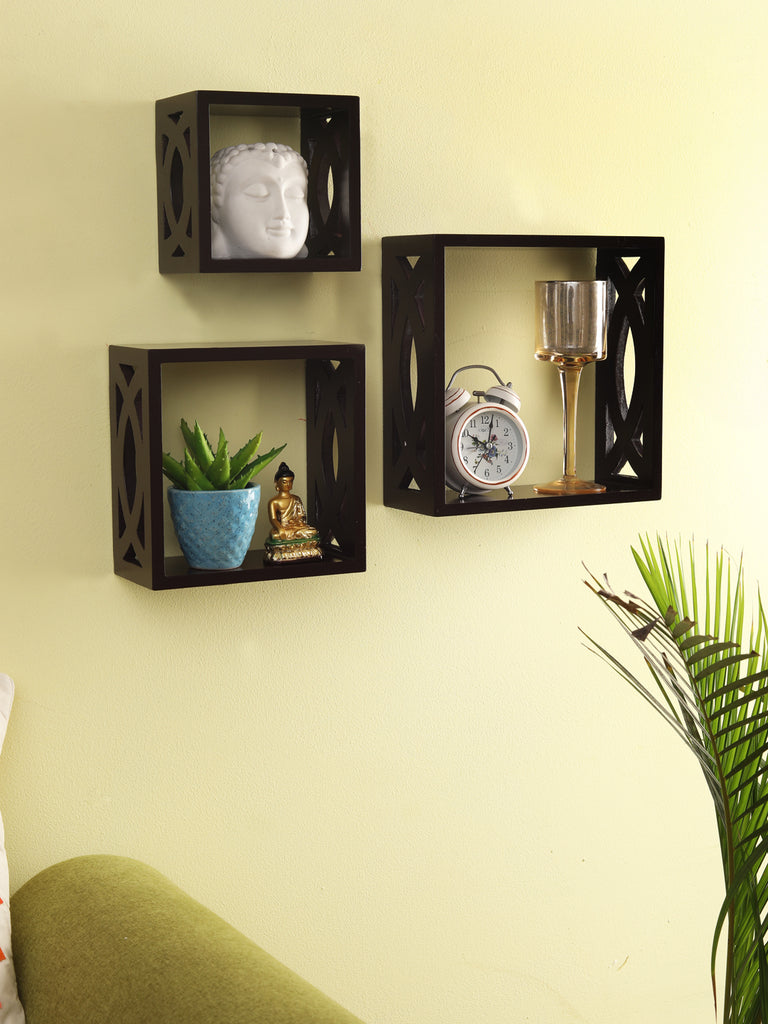 Teak Wall Mounted Shelves Set of 3