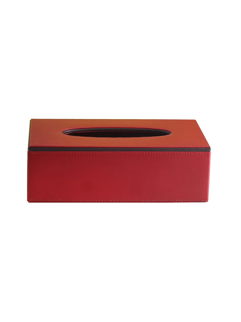 Crimson Red & Brown Tissue Box