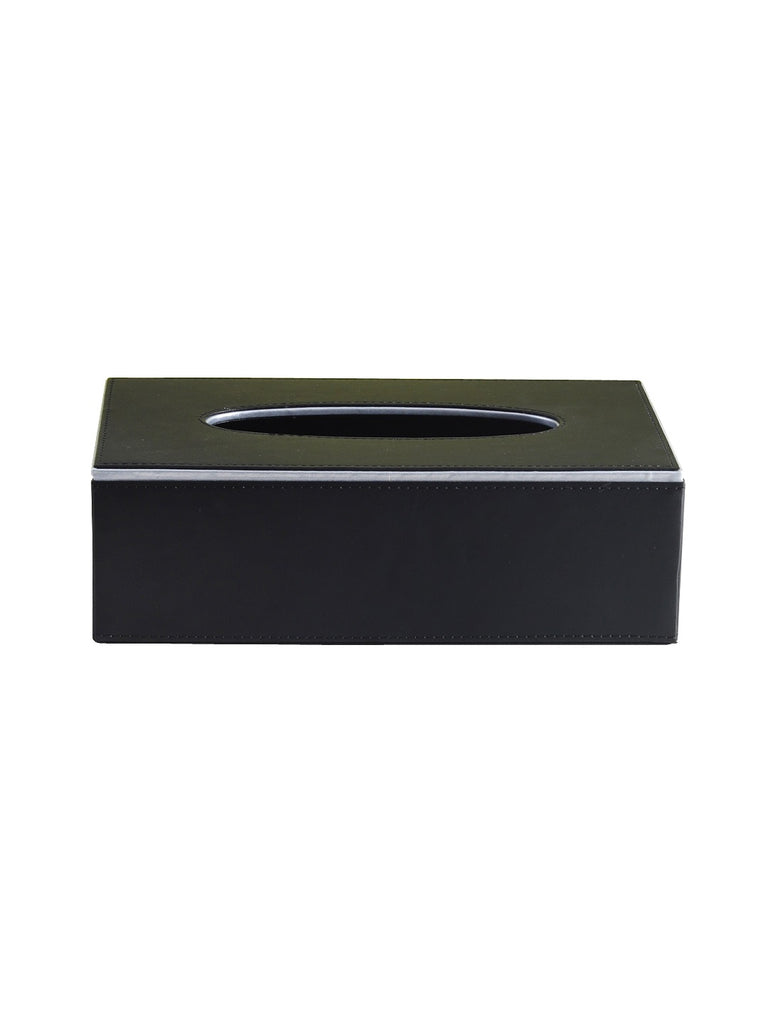 Noire Black & Silver Tissue Box