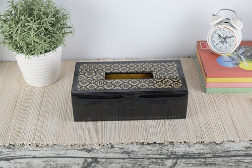 Jaisalmer black & gold Pattern Glass Printed Leathrite Tissue box