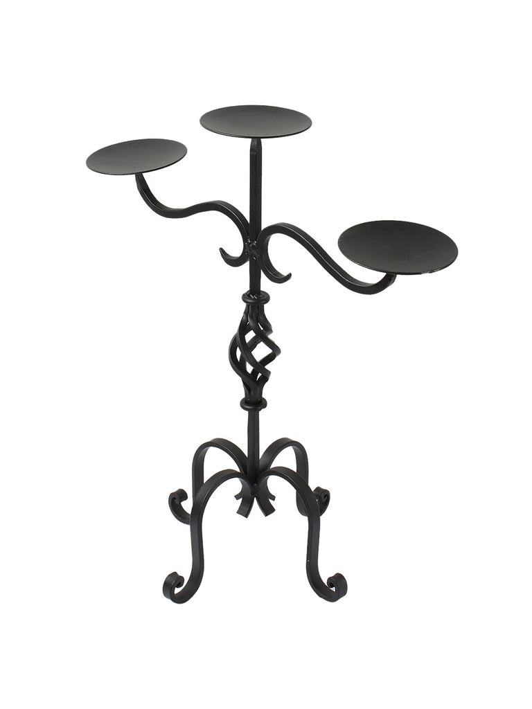 Joe Black Iron 3 Pillar Candleholder
