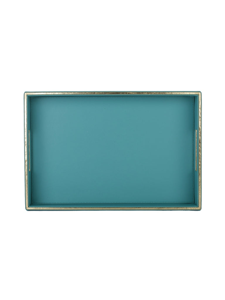 Sapphire Blue & Gold Leatherite Rectangle Tray