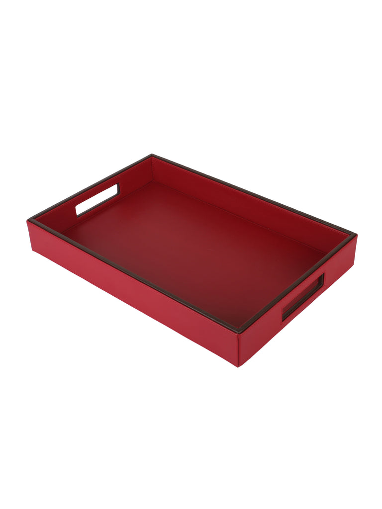 Crimson Red & Brown Leatherite Rectangle Tray