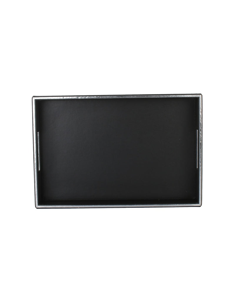 Noire Black & Silver Leatherite Rectangle Tray