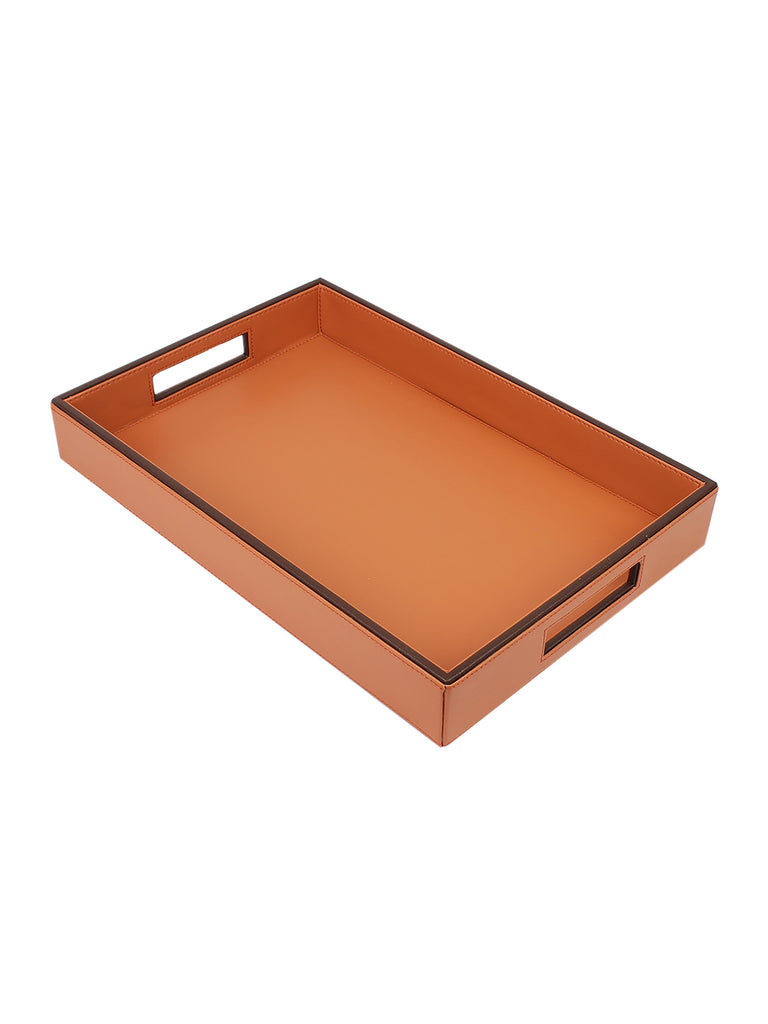 Cynthia Brown & Tan Leatherite Serving Tray