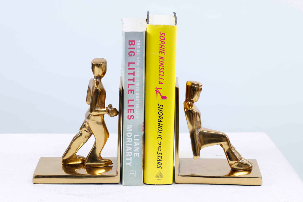 Working Men bookend set of 2 Gold
