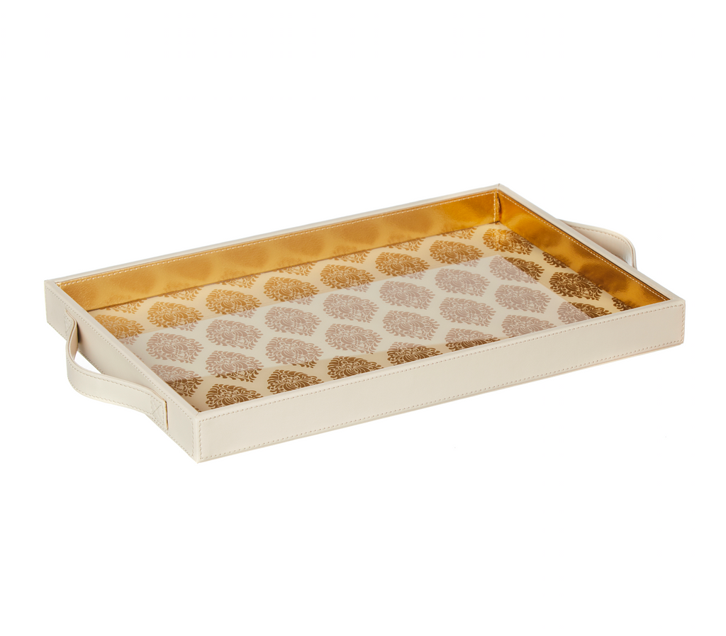 Santorini Cream & Gold Rectangular Tray