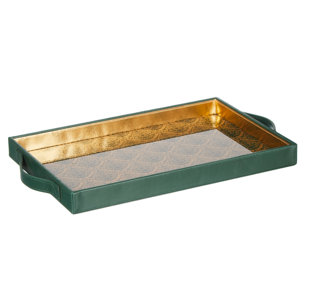 Comorin Emerald Green & Gold Rectangular Tray