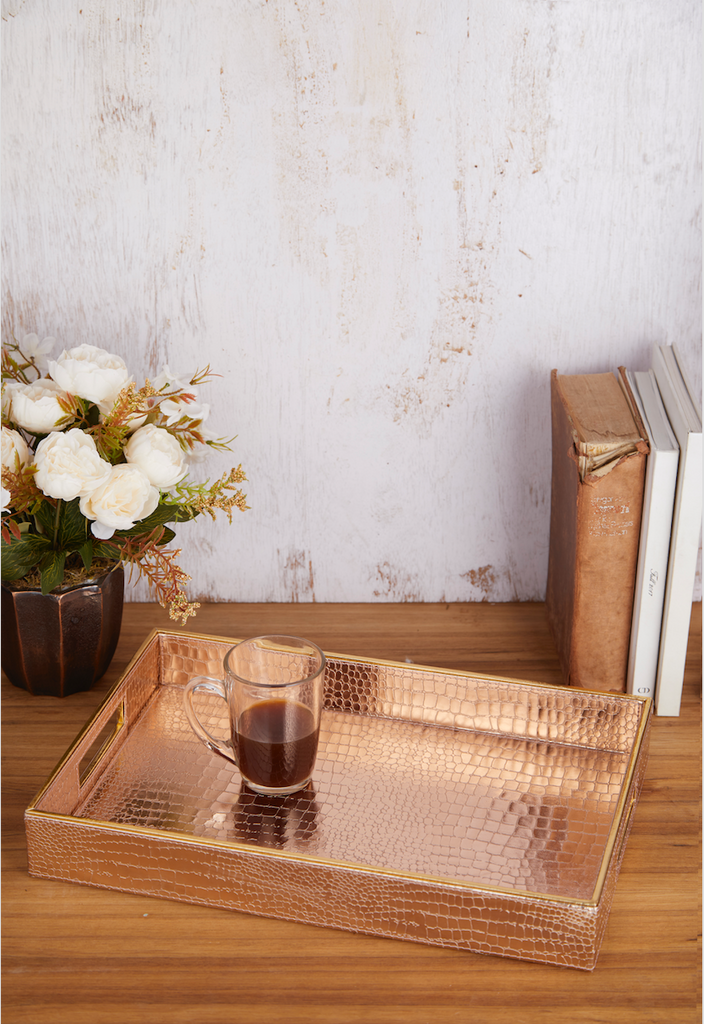 Aubrey Rose Gold Rectangular Tray