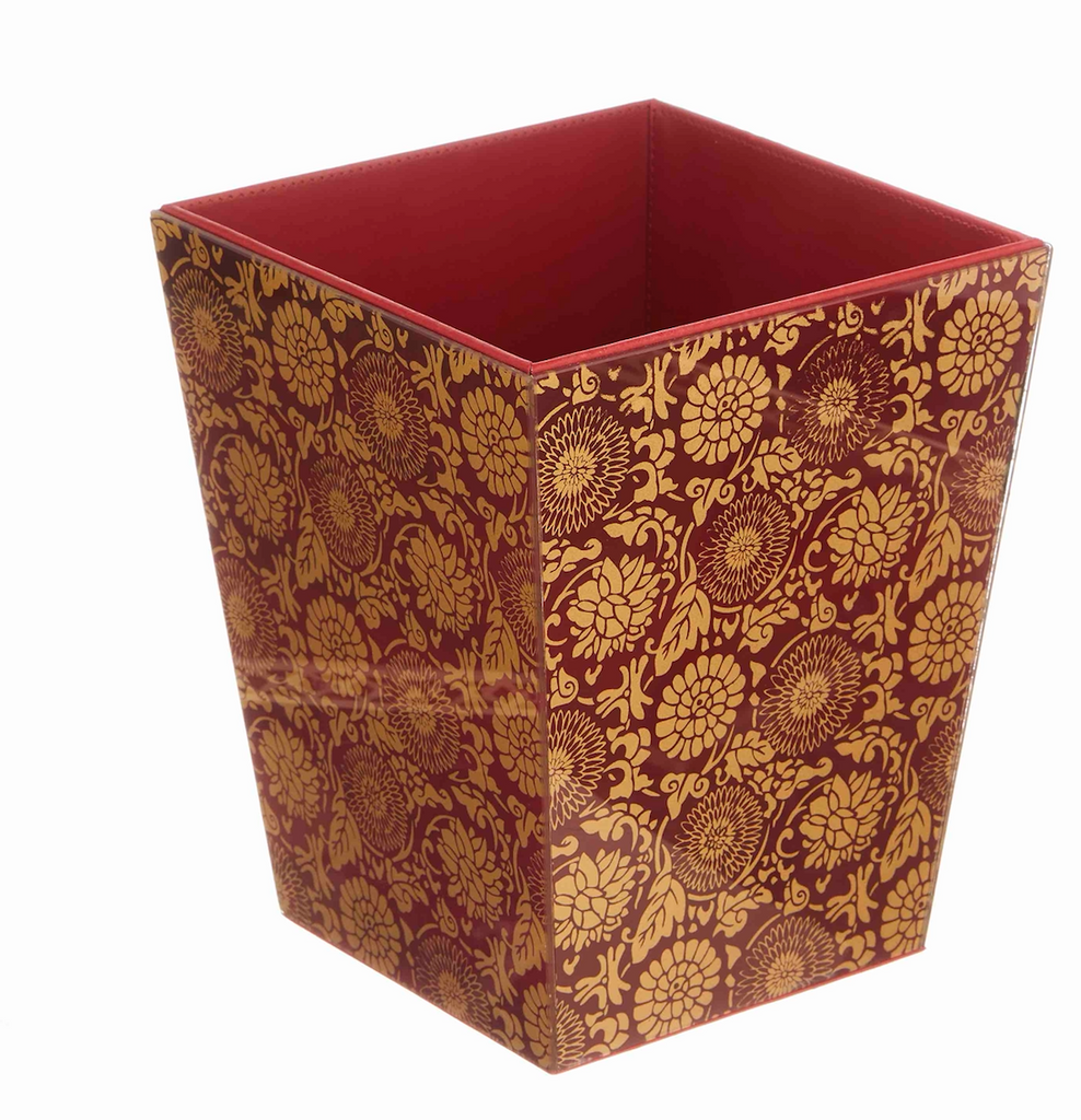 Malabar Ruby Red & Gold Paper Basket