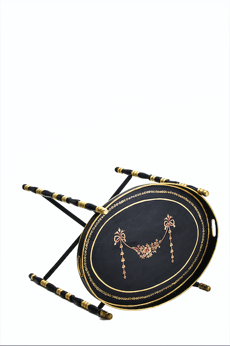 Amaya Black Flower tassle hand painted Oval tray with stand