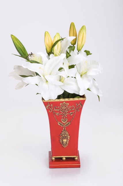 Viraya Red Flower hand painted -Vase with brass feet
